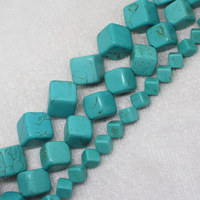 Mini. Order is $7! 8-16mm Blue Turquoises Cube Square opposite angles hole stone DIY Jewelry Making loose beads 15