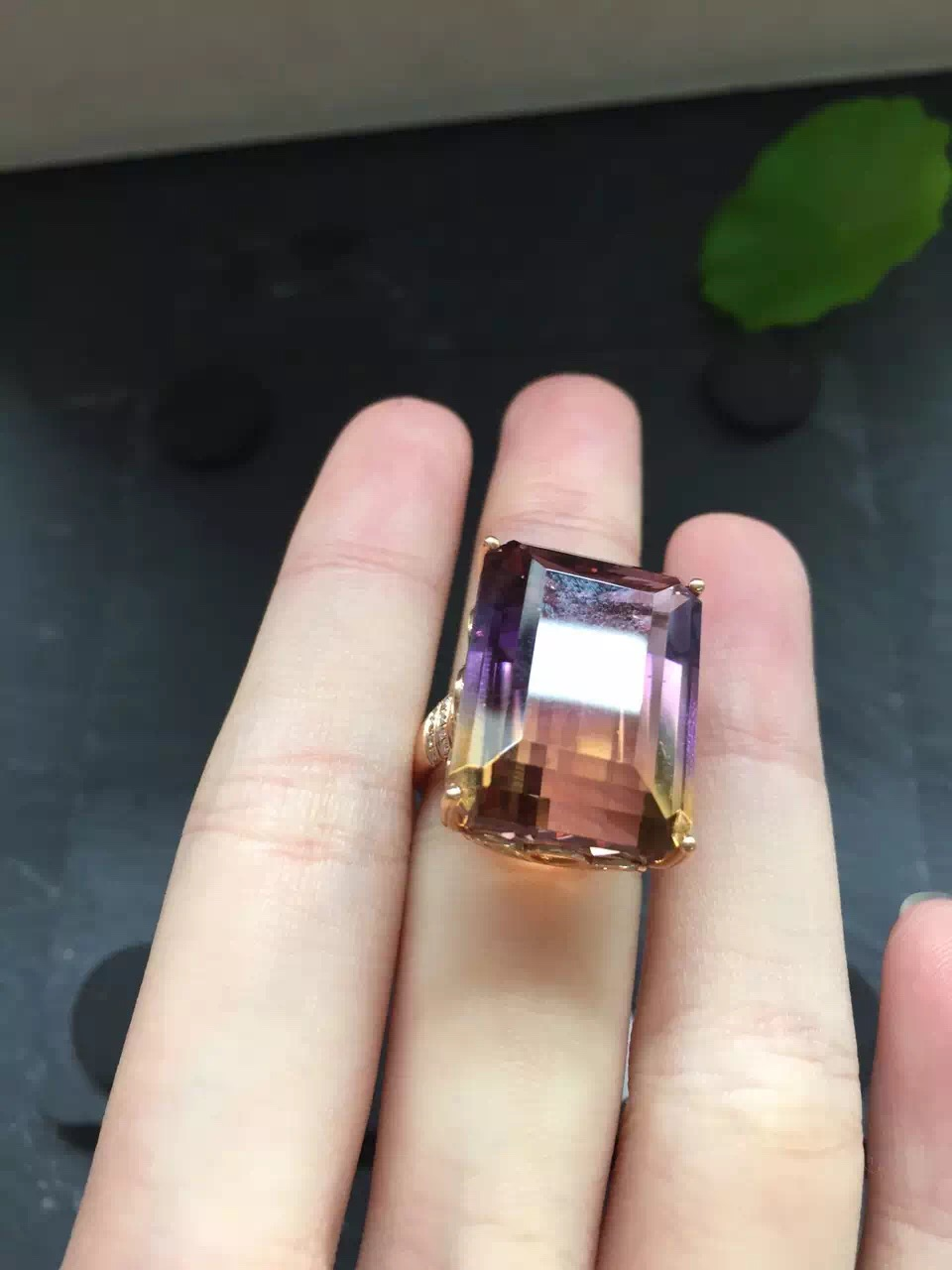 Fine Jewelry Real 18k Rose Gold Au750 Rectangle 100 Natural Ametrine Gemstone Jewellery Ring Wedding Rings For Women Gift In From