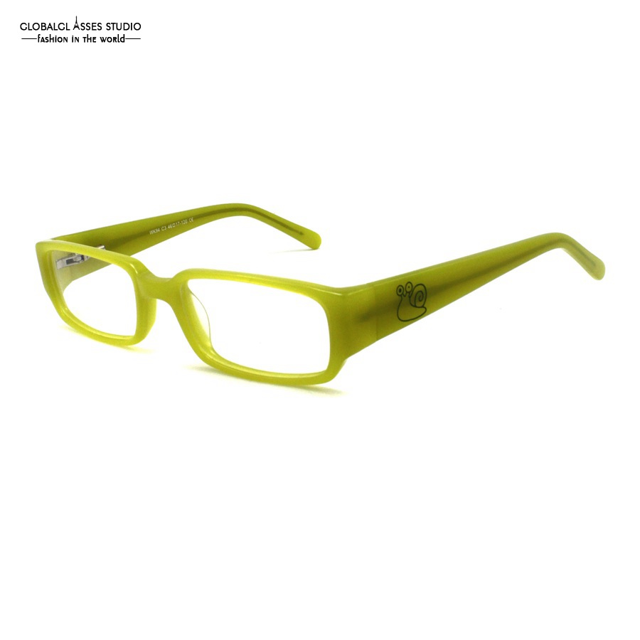 cartoon rectangle lens acetate frame crystal green wide temple flex hinge naughty boy favorite myopia eyeglass