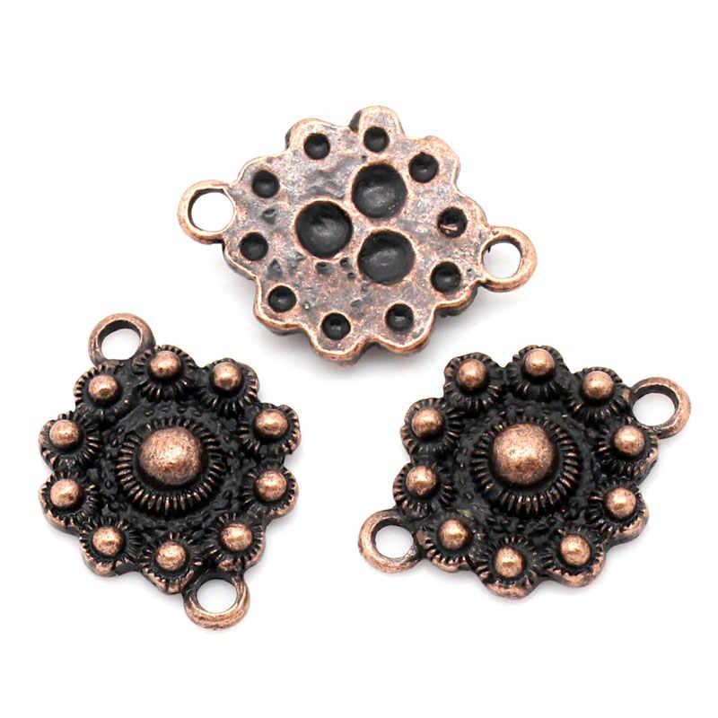 """Doreenperles connecteurs en alliage de Zinc métal résultats fleur Antique cuivre point motif 23.5mm (7/8 """") x 18.0mm (6/8""""), 3 pièces 2015 nouveau"""
