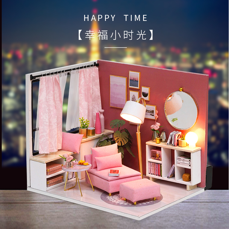 Cute Families House Happy Times Miniature Dolls House DIY Assembled Toys for Girls Toys for Children Juguetes Brinquedos in Doll Houses from Toys Hobbies