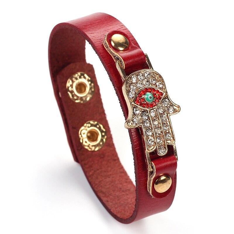 MEIBEADS PU Leather Handcuffed Bracelet Palm Shape Crystal Lucky Blue Evil Eyes Turkish Charms Bracelets Gifts