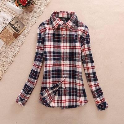 2017 hot sprzedaż jesień zima panie kobieta casual cotton lapel bluzka bluzki z długim rękawem kratę koszula kobiet szczupła odzieży wierzchniej clothing 18