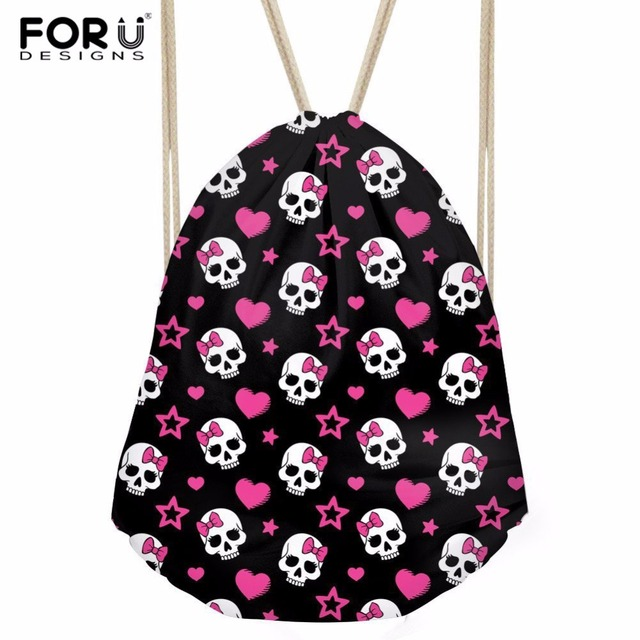FORUDESIGNS Polyester Drawstring Bag Decor Skull String Modern Woman Girl  Shoulder Bag Fashion School Backpack Mochila Feminia