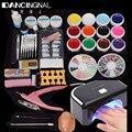 12 Color UV-Gel Polish Nail Art Tips Glue Brush Manicure Tools DIY Kit Set + Pro Nail Dryer UV LED Lamp High Quality