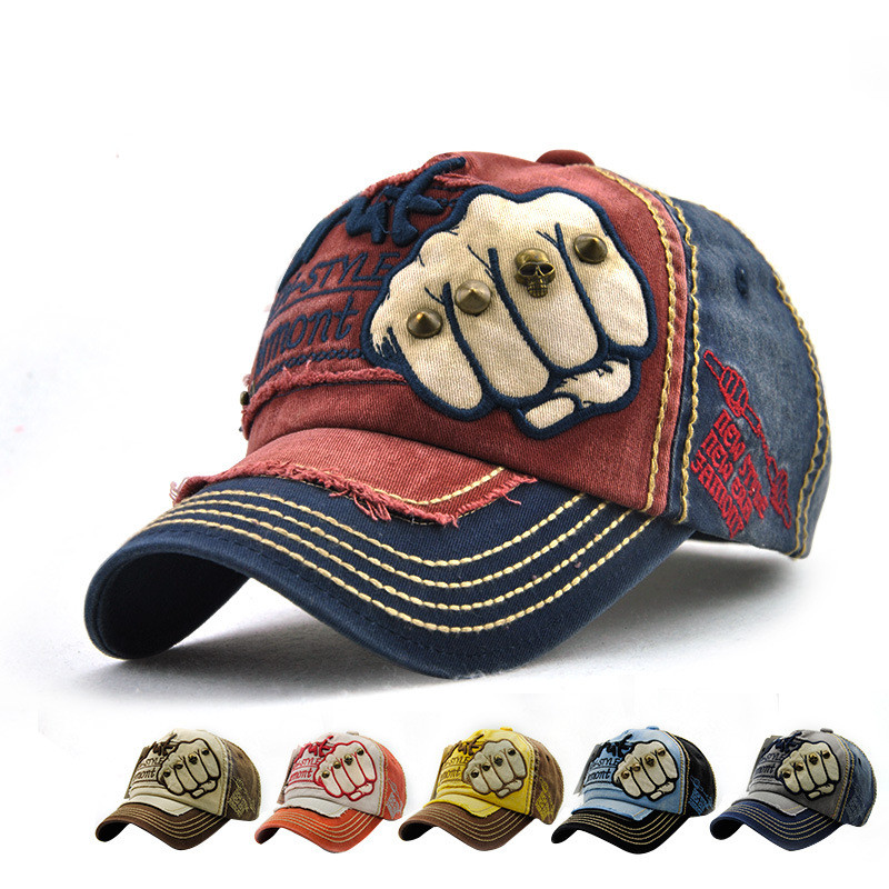 Fashion The Fist Outdoor Cap Adjustable Cotton Hat Snapback Rivets Gorras Hip Hop Men Women Baseball Cap 6 Colors Free Shipping