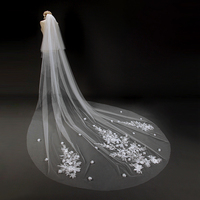 Tao Hill 3 Meter Beige Cathedral Wedding Veils Long Bridal Veil with Comb Wedding Accessories Bride Flowers Wedding Veil