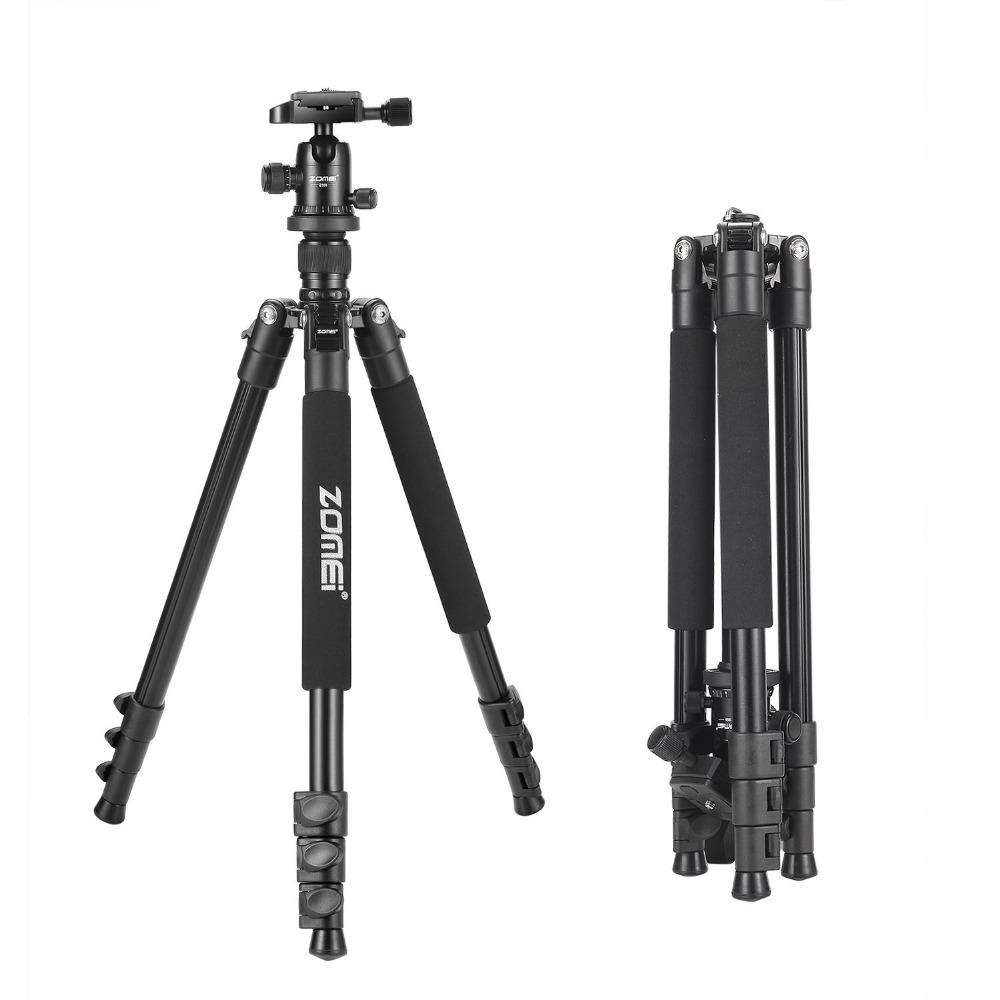 Zomei Q555 professional aluminum flexible camera tripod stand with ball head for DSLR cameras portable with carrying case цена