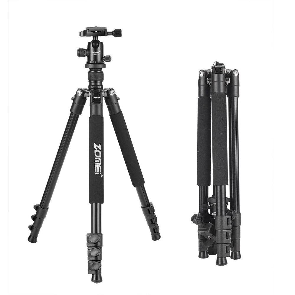 Zomei Q555 support de trépied d'appareil-photo flexible en aluminium professionnel avec tête à bille pour appareils photo DSLR portable avec étui de transport