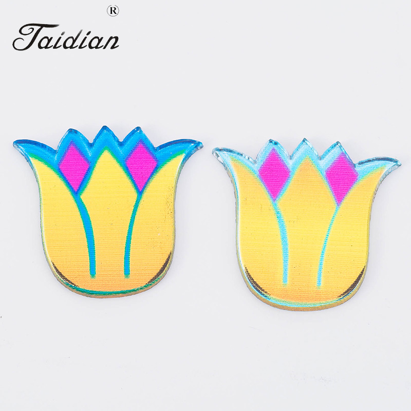 Southwest Very Popular Flatback Laser Cut Acrylic Charm Mirror Cabochons 23*24mm 16pcs/lot Tulip Flower Shape Mixed Mirror Slabs