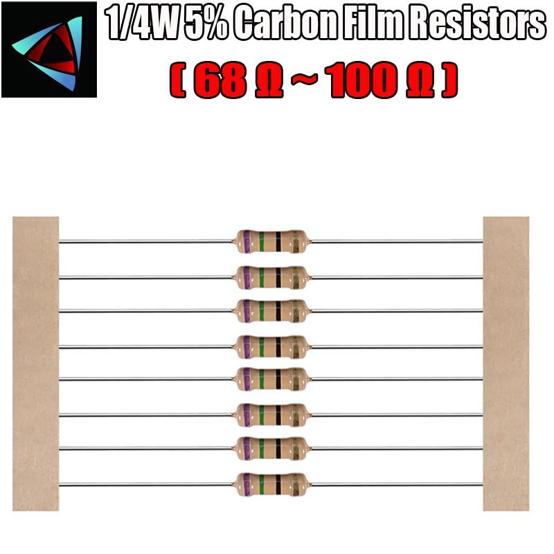 100pcs 1/4W 5% 68 75 82 91 100 ohm Resistor de Filme de Carbono
