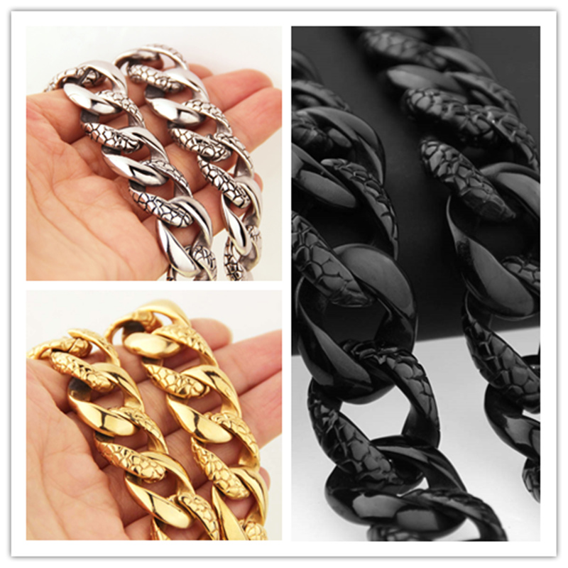 Top Quality HEAVY Jewelry 316L Stainless Steel Cool Men's Silver/Gold/Black Single Curb Cuban Link Chain Necklace Ornaments 20mm heavy jewelry 316l stainless steel silver gold black cuban curb chain mens bracelet bangle 8 5 high quality male wristband