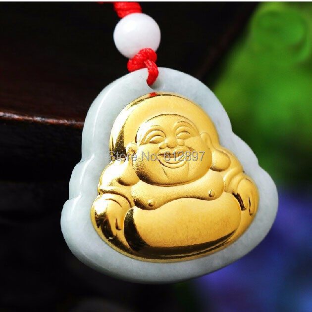 Hot sale 100% Natural Jadeite new 24K Yellow gold Buddha Pendant With Certificate