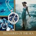 Vinnie Design de Jóias de Prata Colar de Pingente de Luxo 35mm Grande Suporte Da Moeda, Moeda de Cristal Azul
