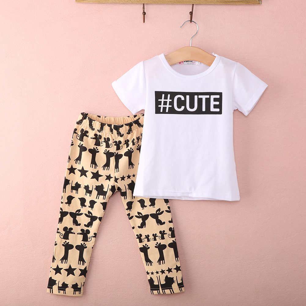 Summer Children Casual clothing 2015 Baby Toddler Girls Kids Clothes Cute T Shirt Tops + Pants 2PCS Outfits Set 0-5T Hot 3pcs set cute baby girls clothes 2017 summer toddler kids denim tops leopard culotte skirt outfits children girl clothing set