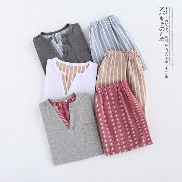 Sexy V-neck 100% cotton short Pajamas sets men Summer simple plaid pijamas for male short sleeves homewear pyjamas men