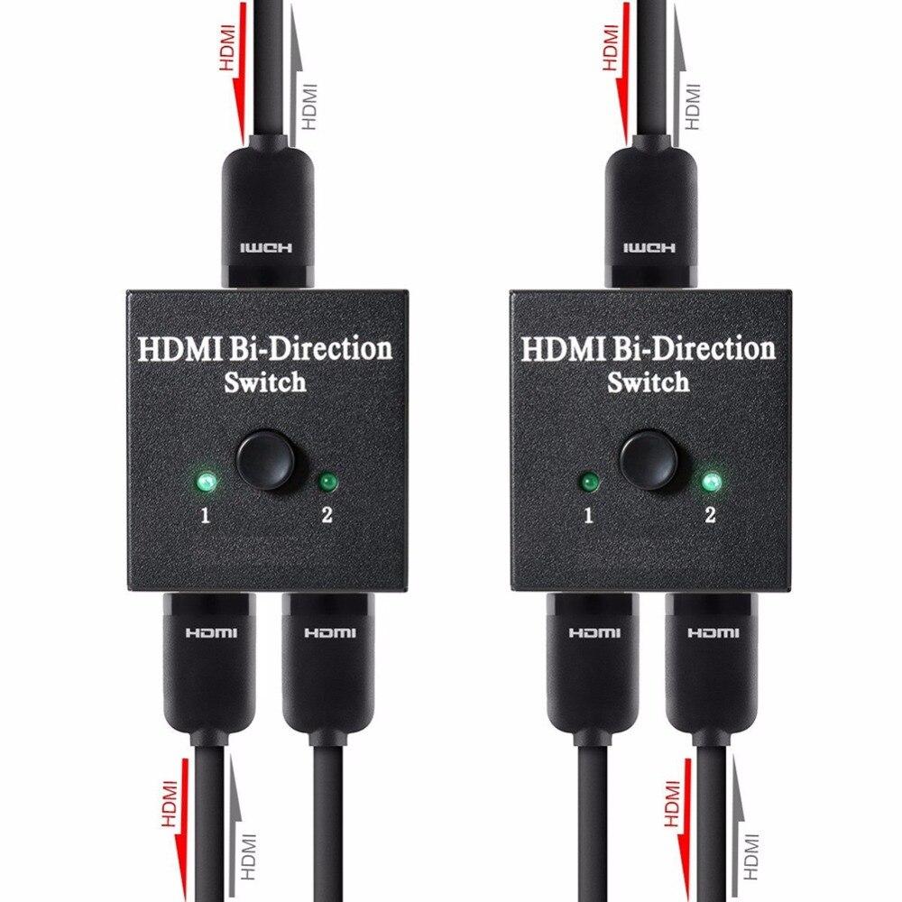 Interruptor HDMI de vídeo Full HD 1080 p 3D interruptor Ultra HD 4 K UHD HDMI divisor HDTV 1X2 2X1 Split 1 in 2 Out amplificador doble pantalla