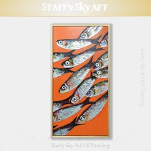 Unframed Handmade High Quality Abstract Modern Fishes Oil Painting on Canvas Funny Wall Art Fishes Acrylic Painting for Kitchen genotoxic potential in fishes