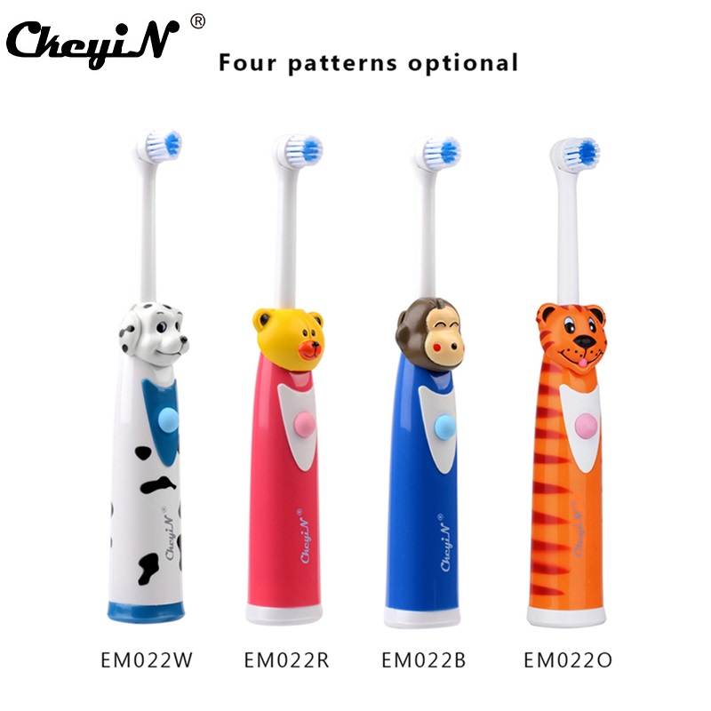 Electric Toothbrush Vibration Oral Hygiene Children Cartoon Battery Powered Teeth Cleaning Massager Brush Heads Auto Rotating
