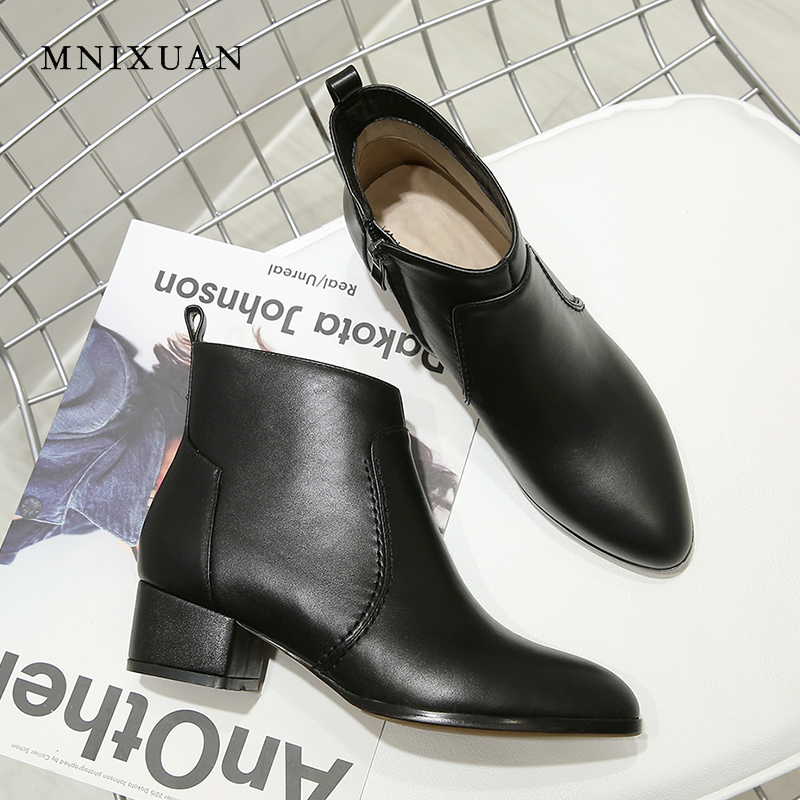 MNIXUAN Handmade winter women shoes ankle boots 2018 autumn genuine leather pointed toe medium heels knight boots big size 34-43 mnixuan handmade shoes women sandals genuine leather high heels summer 2018 new open toe pearls thick heels big size 34 41 42 43
