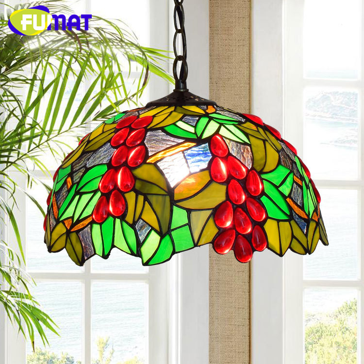 FUMAT American Pastoral Modern Mediterranean Creative Tiffany Stained Glass Red Grape blue Dragonfly bedroom Vintage ChandelierFUMAT American Pastoral Modern Mediterranean Creative Tiffany Stained Glass Red Grape blue Dragonfly bedroom Vintage Chandelier