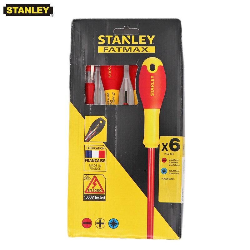 Stanley 6-pcs VDE 1000 v autorisé isolé professionnel tournevis set kit magnétique tournevis électricien kits FatMax Cr. V