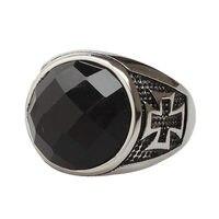 Black Onyx Anéis de Pedra Do Vintage Cruz de Ferro Dos Homens De Largura de Espessura banda de Titânio Sólido Aço Inoxidável Estilo Retro Do Punk Legal Dos Homens jóias