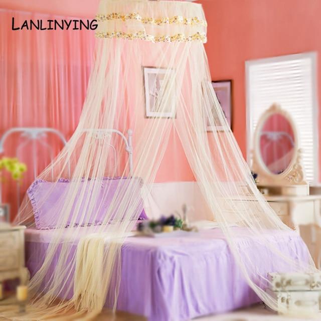 Chegada Nova Rodada Pequeno Floral Bed Canopy Rede Princesa Mosquito Cupula Net Palacio Redes De Teto