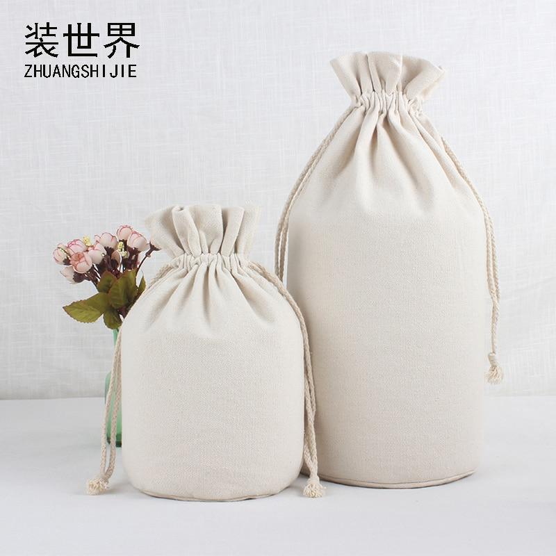 1 Pcs 13*39cm Custom Logo Printed Cotton Canvas Bags Drawstring Bag Food Bottle  Christmas Gifts Pouch