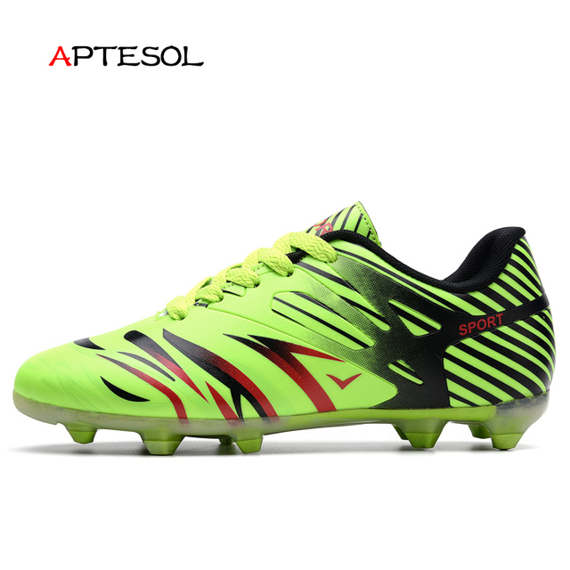 APTESOL Men s Kids Long Spikes Soccer Shoes Youth Outdoor SG FG HG Football Soccer  Cleat Sneakers Rubber Damping Shoes fb3c81218ad6