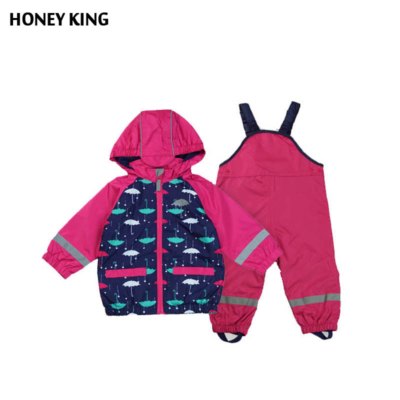Kids Waterproof Windproof Girls Jacket Suit+Overalls Child Raincoat Reflective Article Warm Fleece Jacket 2-3T Girls Outerwear