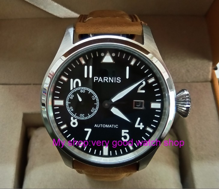47mm big pilot PARNIS Black dial Automatic Self-Wind movement Auto Date men watches luminous Mechanical watches df134A