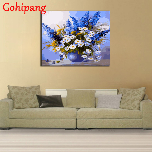 Gohipang Framed White Flower DIY Painting By Numbers Modern Wall Art ...