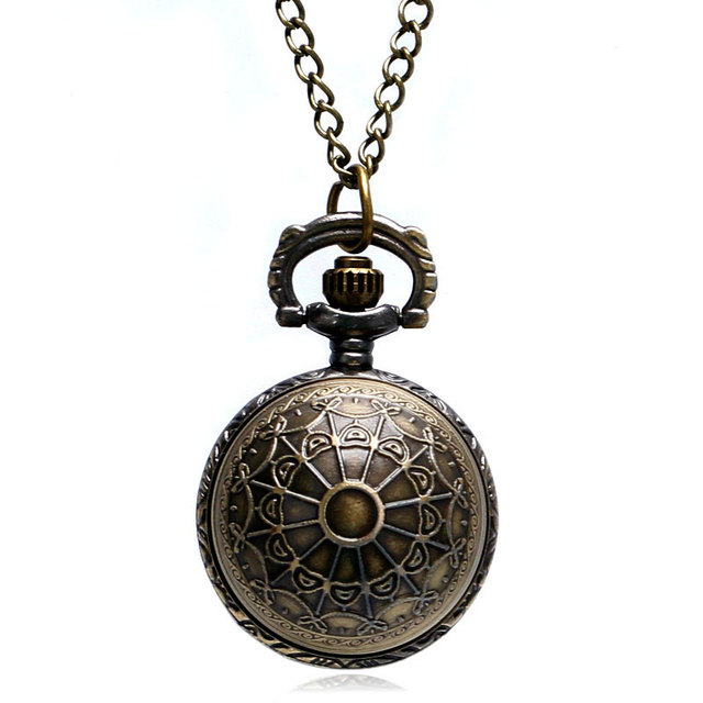 Fashion Vintage Bell Shape Quartz Fob Pocket Watch With Necklace Chain Gift Free