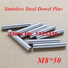 20 шт./лот M8* 50 GB119 Нержавеющая сталь штифты/круглый цилиндр цилиндрический штифт диаметром 8 мм