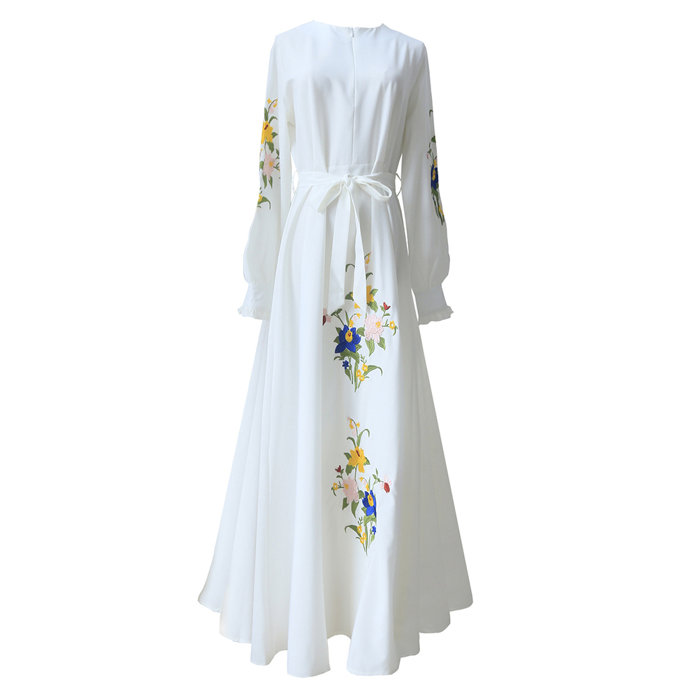 Bohoartist White Maxi Dress Women Autumn Long Sleeve Belt Lace Up Tunic Draped Elegant Boho Casual XXL Long Plus Size Dress
