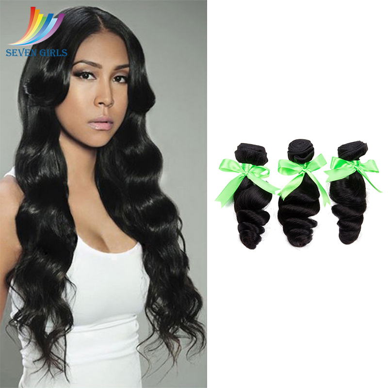Sevengirls Loose Wave Wet And Wavy Human <font><b>Hair</b></font> Bundles Indian <font><b>Grade</b></font> <font><b>10A</b></font> <font><b>Hair</b></font> Extension Natural Color Raw Virgin <font><b>Hair</b></font> 3 Bundles image