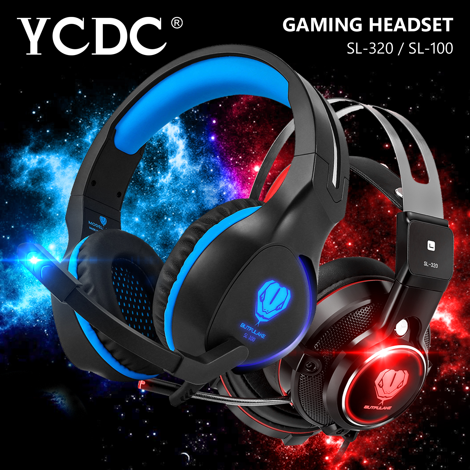 YCDC SL-100 / 320 Headband PC Gamer Game Headset USB Virtual Surround Sound Stereo Bass Pro Gaming Headphone with Mic LED xiberia k9 usb surround stereo gaming headphone with microphone mic pc gamer led breath light headband game headset for lol cf