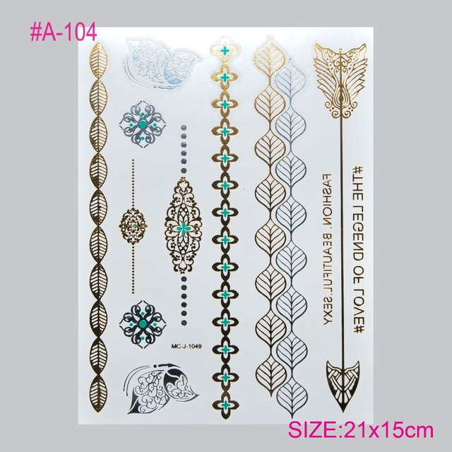 The High-end Luxury Silver Hot Stamping Tatto Tatto Stickers Gold Silver Metal Henna Tattoo Temporary Tattoos