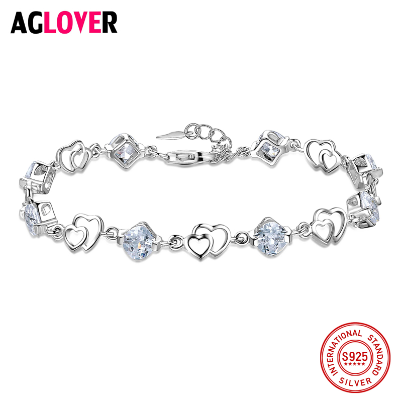 AGLOVER nouveau 2018 Double amour coeur femme violet/blanc Zircon cristal 925 argent Sterling femmes Bracelets bijoux en gros