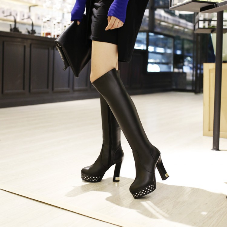 2017 Botas Mujer Big Size 34-43brand Design Patch Color Over The Knee Boots Thick Sole Platform Slim Long Winter Autumn X15-281