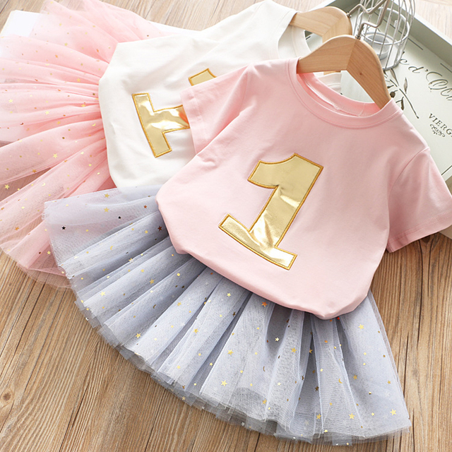 IYEAL Girls Clothing Sets 2019 Summer Kids Clothes Girl Cotton Short Sleeve Top T-Shirt + Tutu Skirt 2PCS Set Children Clothing