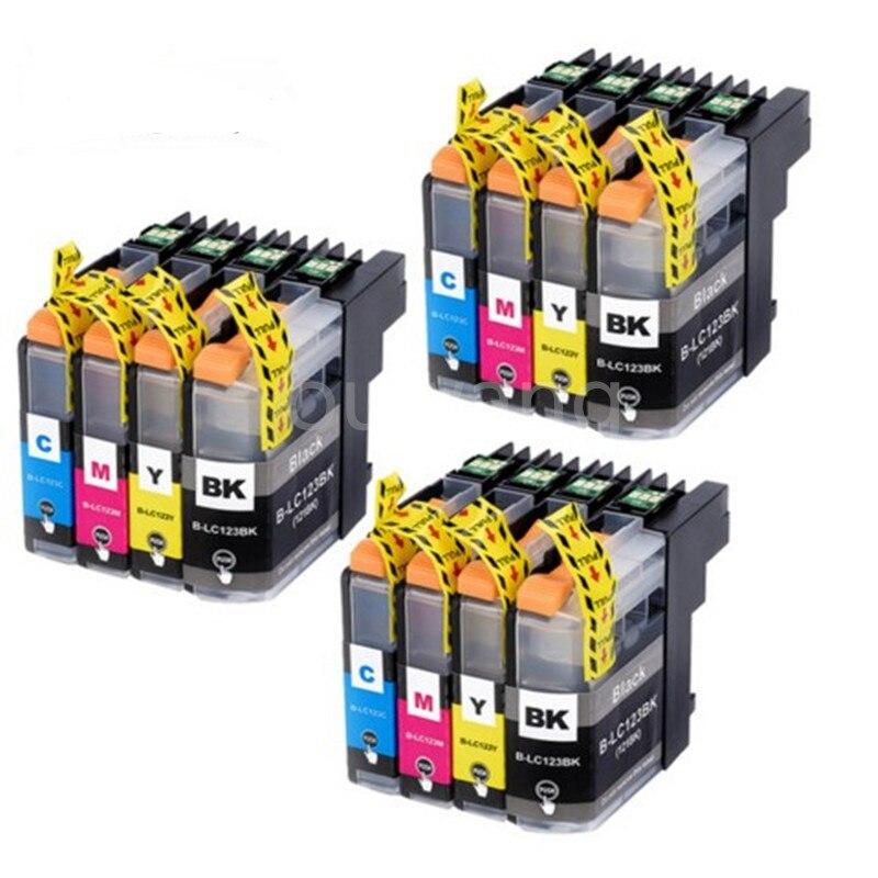 12PK  Compatible For LC123 Ink Cartridge MFC-J4510DW MFC-J4610DW Printer LC 123 MFC-J4410DW J4710DW
