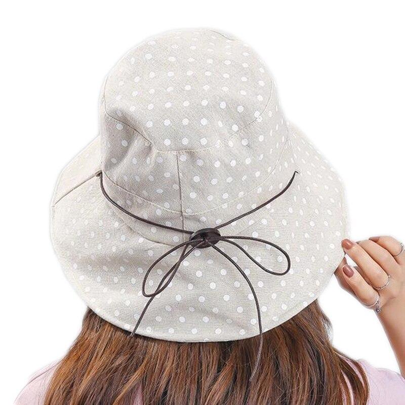 Joejerry Wanita Dot Dicetak Nelayan Ember Topi Desain Musim Panas Pantai  Topi Perlindungan UV untuk Gadis 7a2970bf3b