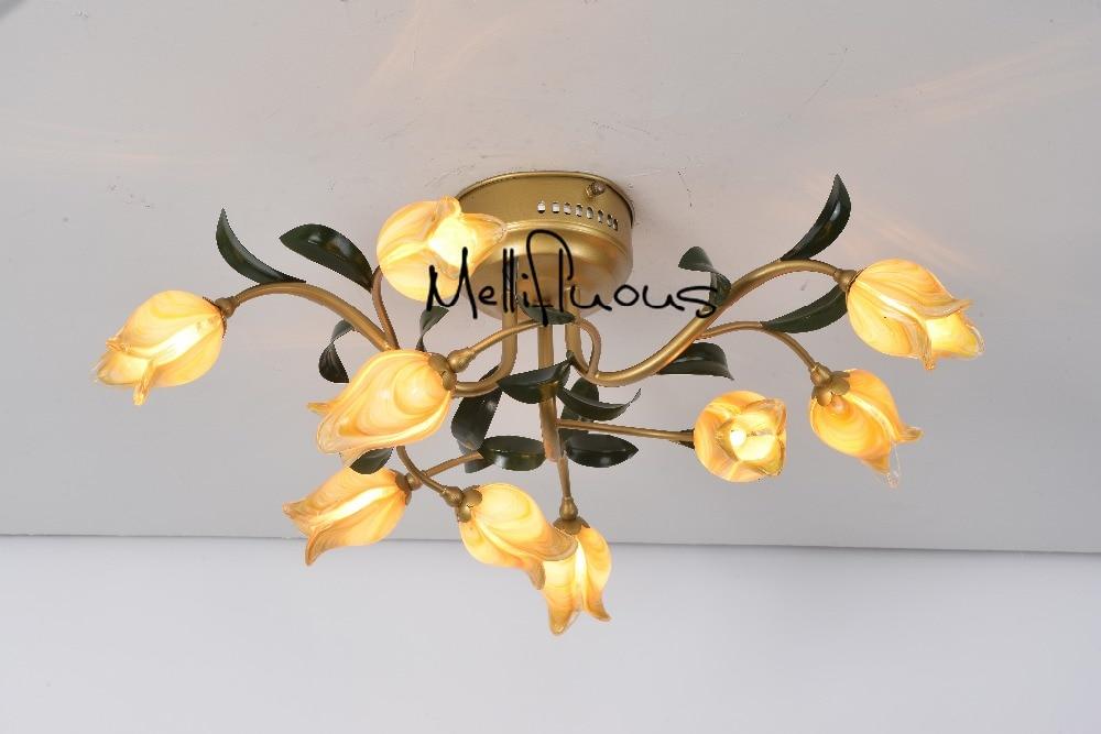 Creative LED Chandelier Light Lighting Rural Style Tulip ...