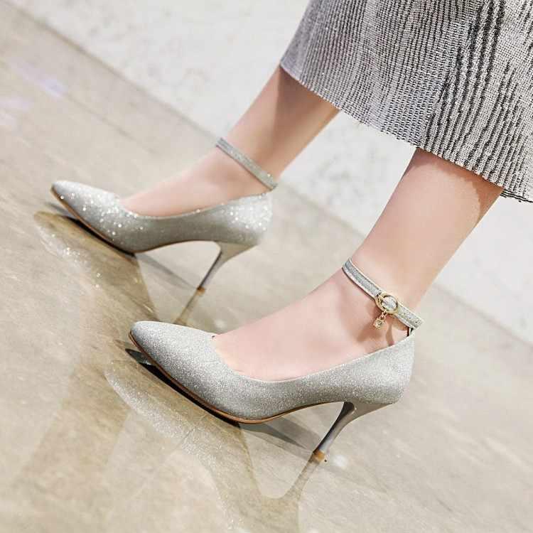 Büyük Boy 11 12 13 14 bayanlar yüksek topuklu kadın ayakkabı kadın pompaları Ince topuklu payetler tek kelime toka metal dekorasyon