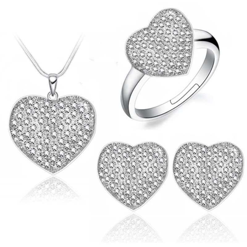Projeto do coração conjunto de jóias colar brinco set sem desbotar amostra grátis CZ bijouteria bijoux joias jóias