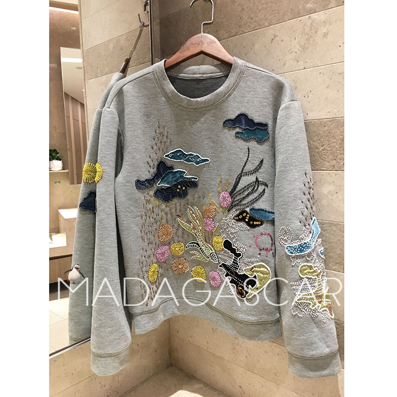 Refined heavy process Nail bead Patch embroidery Casual long sleeved Autumn Hoodies & Sweatshirts 2018 Women's Clothing