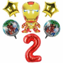 6pcs Large Iron Man Foil Ballons Super Hero Birthday Party Decoration Kids 40inch Number Babyshower Boy supplie