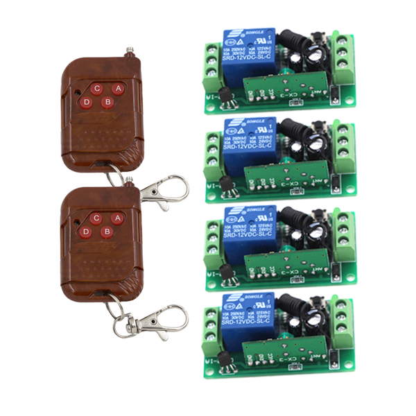 Mini Remote Control Switch Micro Contactless RF 4Receiver +2Transmitter Contactless Control System No Noise Learning access control power remote switch 3s 8s delay off mini wireless switch mos no noise rf micro receiver console 433 5v 9v 12v 6v